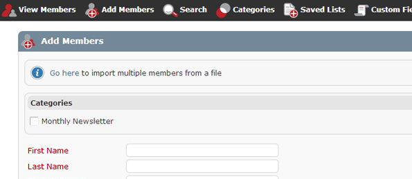 "Easily add members using our ""Add members"" form, or you can use our ""seemless sign-up form"""